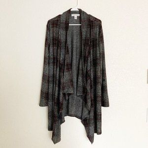 NWT New York Laundry Plaid Open Front Cardigan L